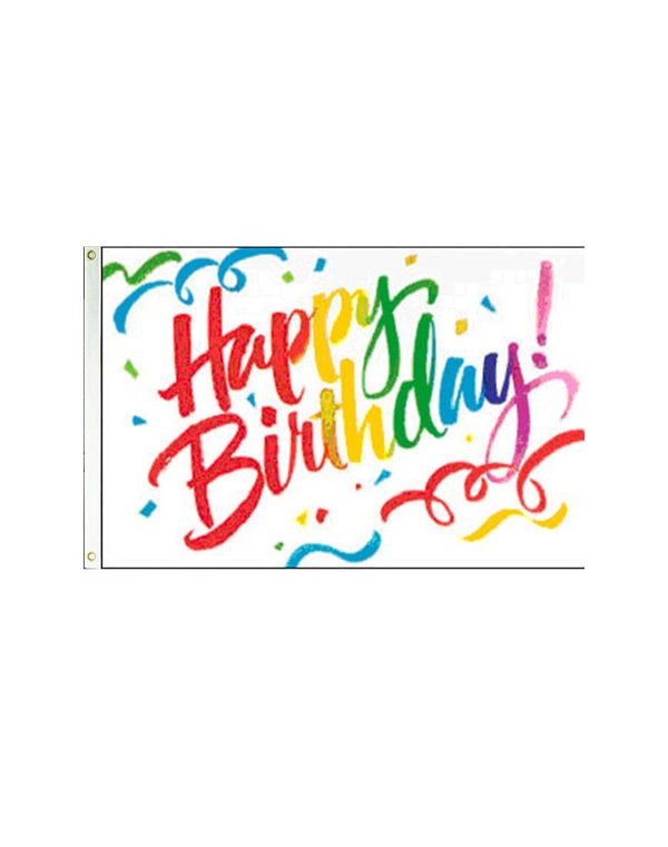 Happy Birthday (Swirls) 3x5 Polyester Flag
