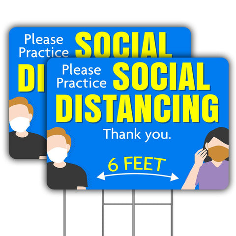 "Please Practice Social Distancing Two Pack 24"" x 16"" Yard Signs Double-Sided with Metal Stake (Made in the USA)"