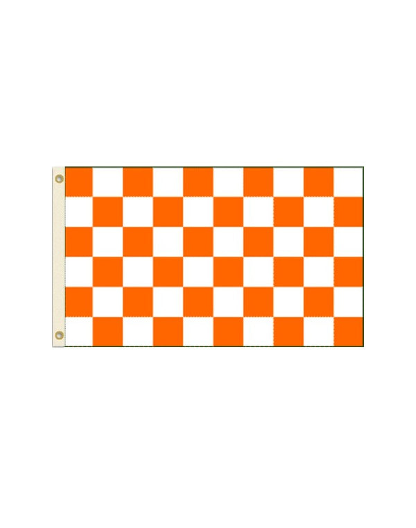 Orange and White Checkered 3x5 Polyester Flag