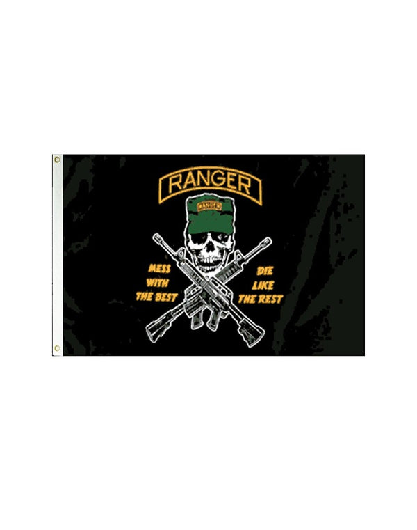 "Rangers ""Mess with the Best"" Pirate 3x5 Polyester Flag"