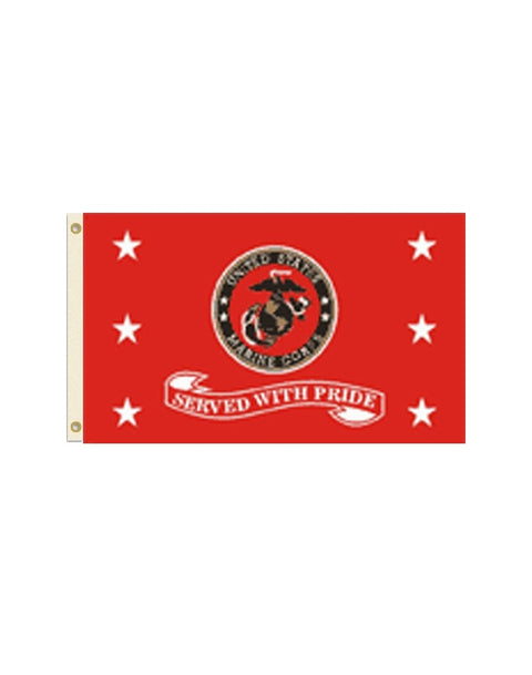 Served With Pride - US Marines 3x5 Foot Polyester Flag