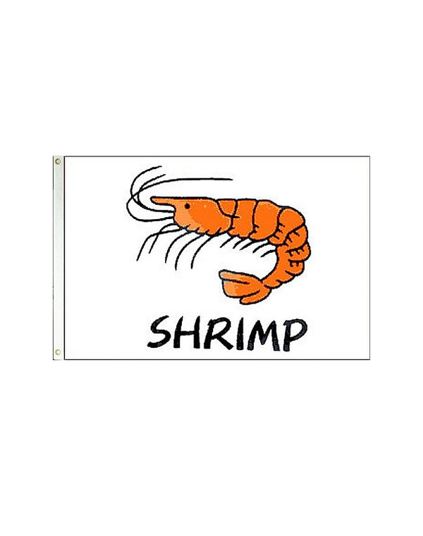 Shrimp (White) 3x5 Polyester Flag
