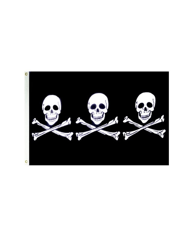 Triple 3 Skulls Pirate 3x5 Polyester Flag