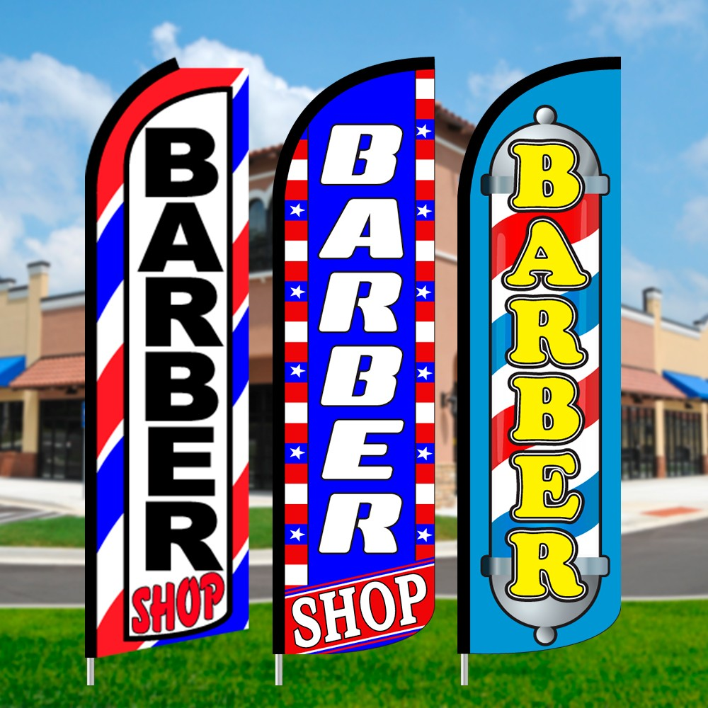 Barber Shop Feather Flags