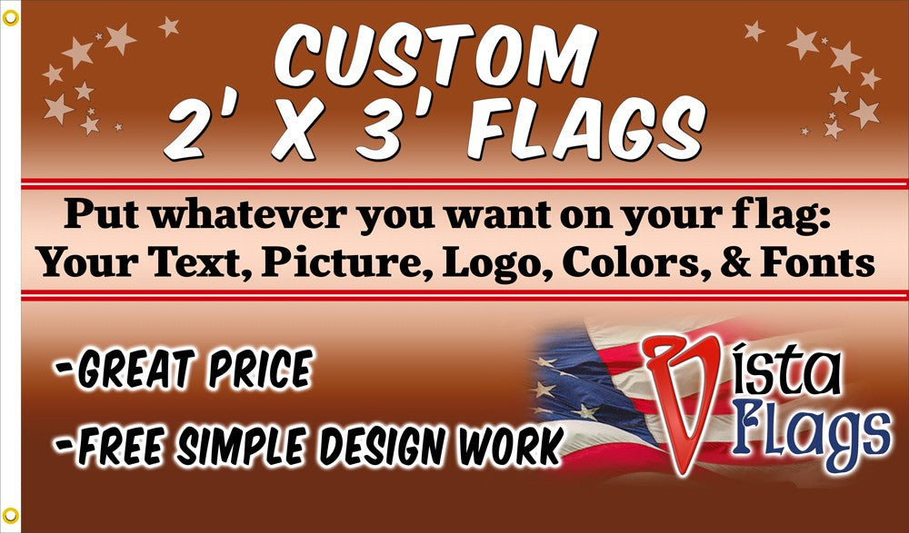 Custom Horizontal Flag 2'x3' Feet