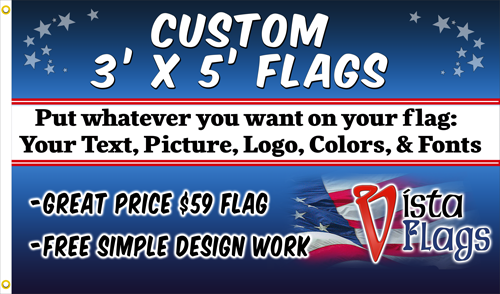 Custom Horizontal Flag 3'x5' Feet