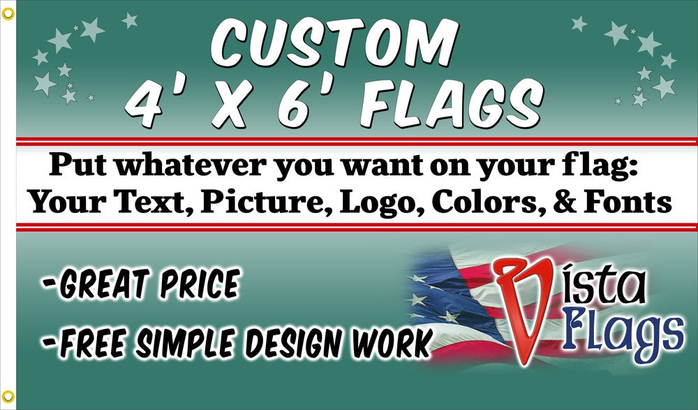 Custom Horizontal Flag 4'x6' Feet