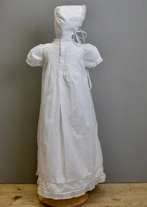Christening Gown With Tucks Embroidered Panel