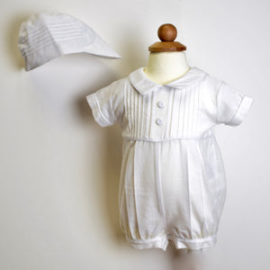 White boys linen Christening romper and cap with pleats