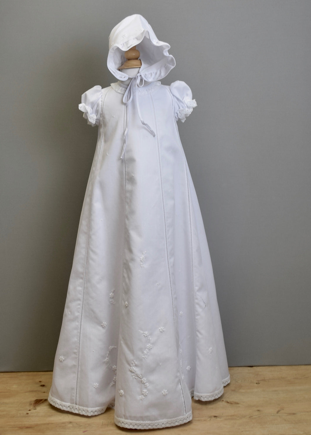 Christening gown vertical fagoting embroidered flowers