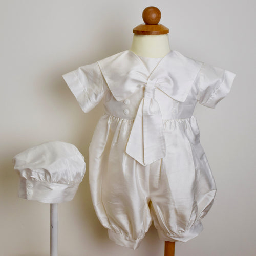 Christening Romper Silk short Sailor and beret