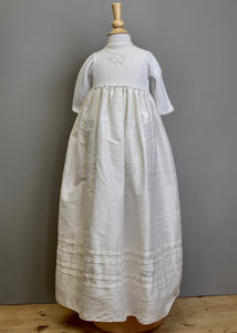 Christening gown knit bodice with dupioni silk skirt