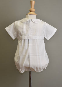 Boys Christening Linen Pleated Front Romper