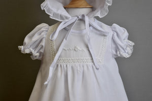 Christening dress With Organza Embroidered With Pearls.