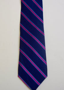 Navy Magenta Stripe  Boys Tie
