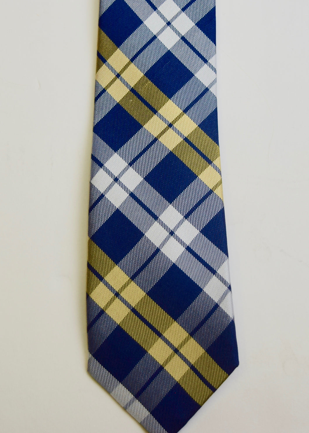 Navy Yellow Tartan Boys Tie