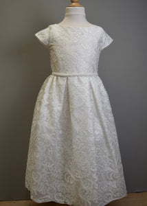 Special Occasion Dress Embroidered Lace Pearl Waist