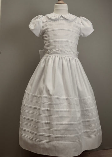 White Dress Cotton with embroidered waist and pleats round collar