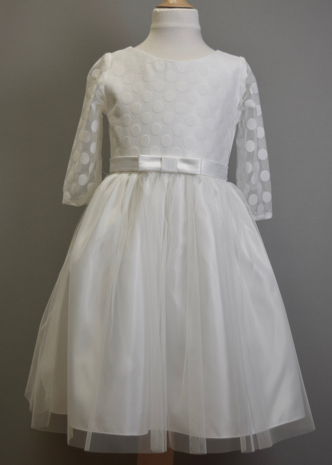 Polkadot Mesh and Tulle Flower Girl Dress