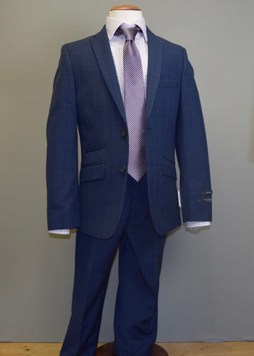 Boys Blue & Navy Glenplaid Suit
