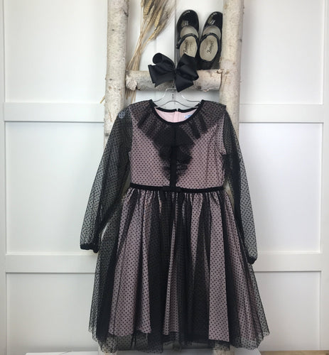 Black Dotted Tulle Dress By Mayoral