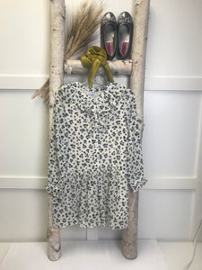 Chiffon White Black Cheetah Dress