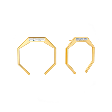 Angles by Âme large octagon earrings