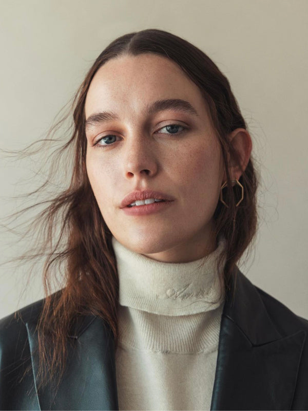 Victoria Pedretti wearing Angles by Âme large octagon earrings