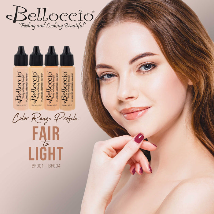 ALABASTER Color Shade Belloccio Professional Airbrush Makeup Foundation, 1/2 oz.