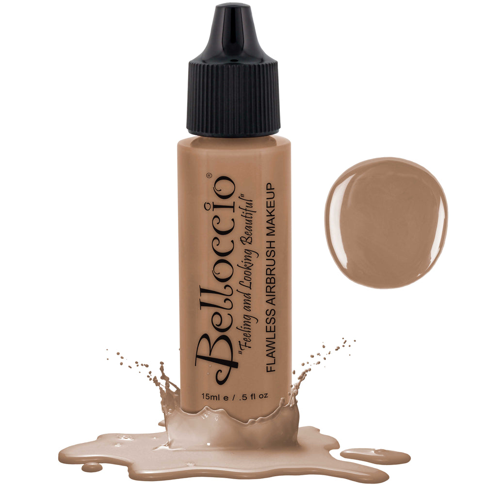 HONEY BEIGE Color Shade Belloccio Professional Airbrush Makeup Foundation, 1/2 oz.