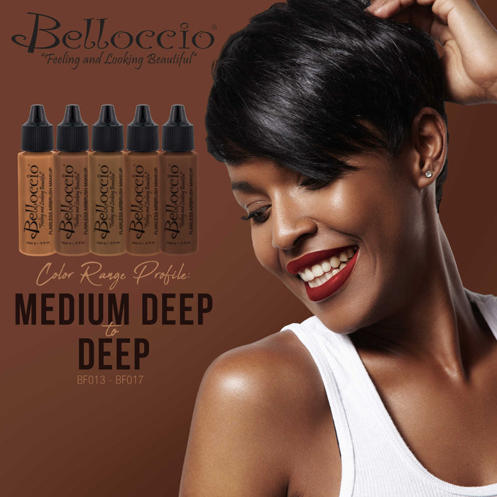 DEEP EBONY Color Shade Belloccio Professional Airbrush Makeup Foundation, 1/2 oz.