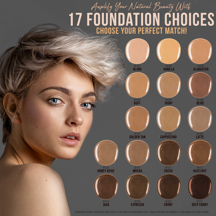 TAN Color Shade Foundation Set of Belloccio's Professional Cosmetic Airbrush Makeup in 1/2 oz Bottles