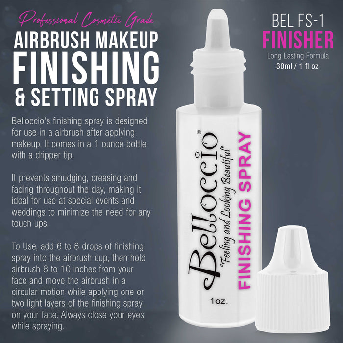 Belloccio Airbrush Makeup Finishing Spray & Setting Mist, 1 oz. Bottle - Long Lasting, Prevents Smudging and Fading