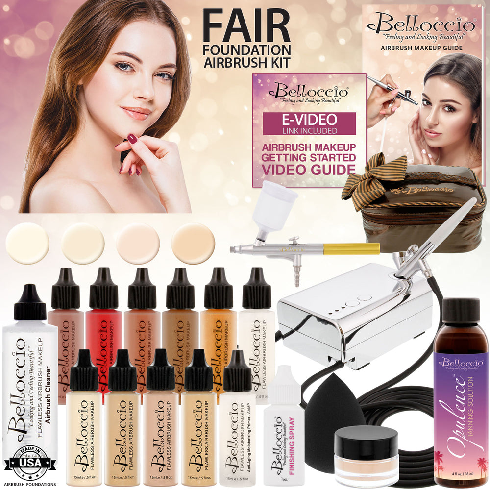 Belloccio Ultimate Airbrush Makeup & Spray Tanning System; Makeup & Tanning Airbrushes, Fair Shade Foundations, Blushes & Tanning Solution