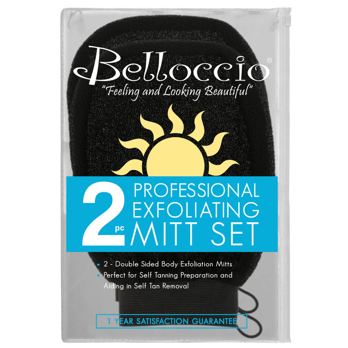 Belloccio� Set of 2 Premium Tanning Exfoliating Glove Mitts; Preparation Shower Scrub Gloves for Sunless Self Tanning