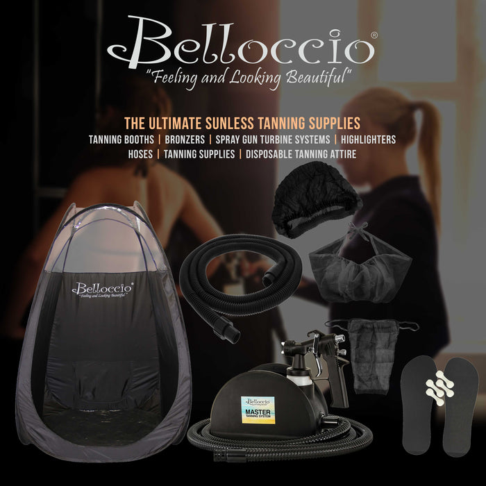 Belloccio Professional Black Airbrush and Turbine Spray Tanning Tent Booth with Nylon Carrying Bag