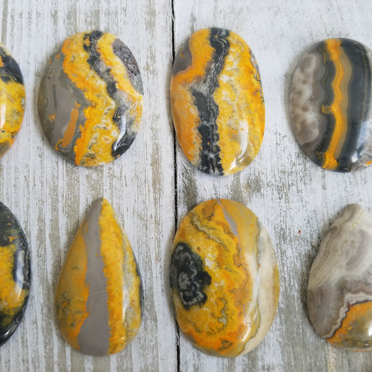 Bumble Bee Jasper Cabochons 100 grams minimum & up