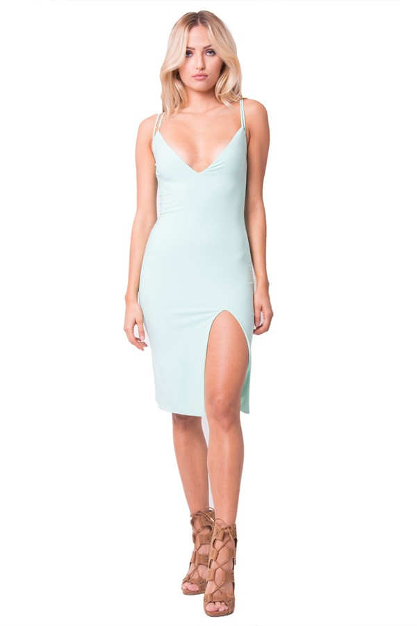 Light blue high slit dress