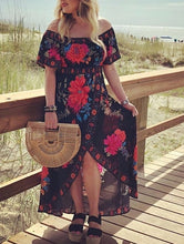 Load image into Gallery viewer, Midnight roses off the shoulder dress