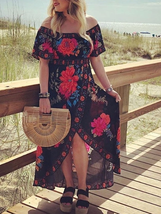 Midnight roses off the shoulder dress
