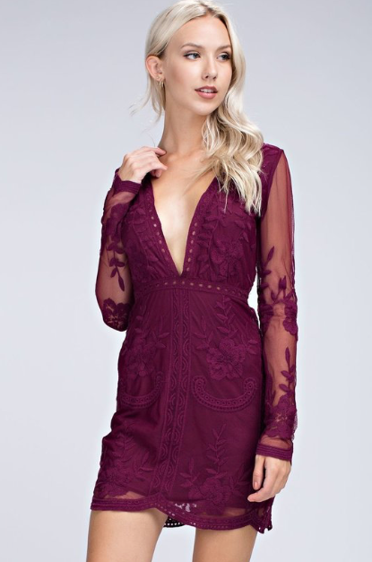 Deep Wine V-plunging Neckline dress