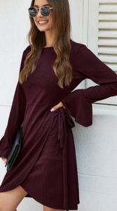 Flirty wrap dress in Red Wine