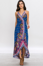 Load image into Gallery viewer, Navy Hi-low tribal print boarder dress