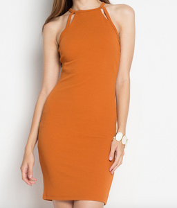 Burnt orange body con dress