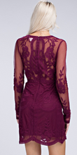 Load image into Gallery viewer, Deep Wine V-plunging Neckline dress
