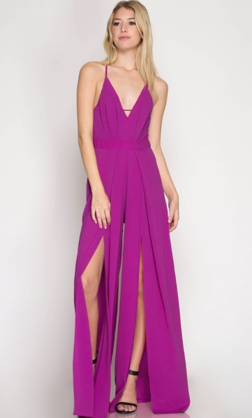 Magenta Jumpsuit with slits