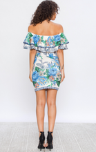 Load image into Gallery viewer, Blue Floral Off-the Shoulder Dress