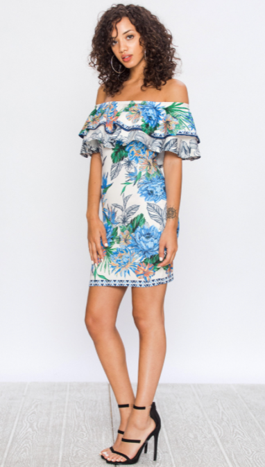 Blue Floral Off-the Shoulder Dress