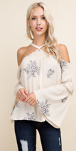 Load image into Gallery viewer, Cream Floral Bell Sleeve Top
