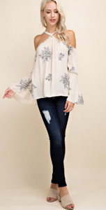 Cream Floral Bell Sleeve Top